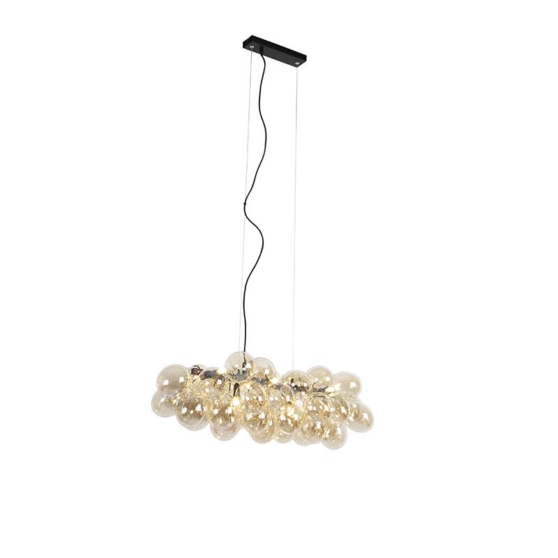 Designerska lampa wisząca czarna podłużna szkło bursztynowe 8-źródeł światła - Uvas