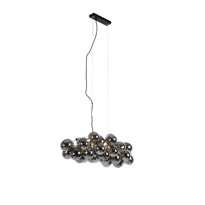 Designerska lampa wisząca czarna podłużna szkło przydymione 8-źródeł światła - Uvas