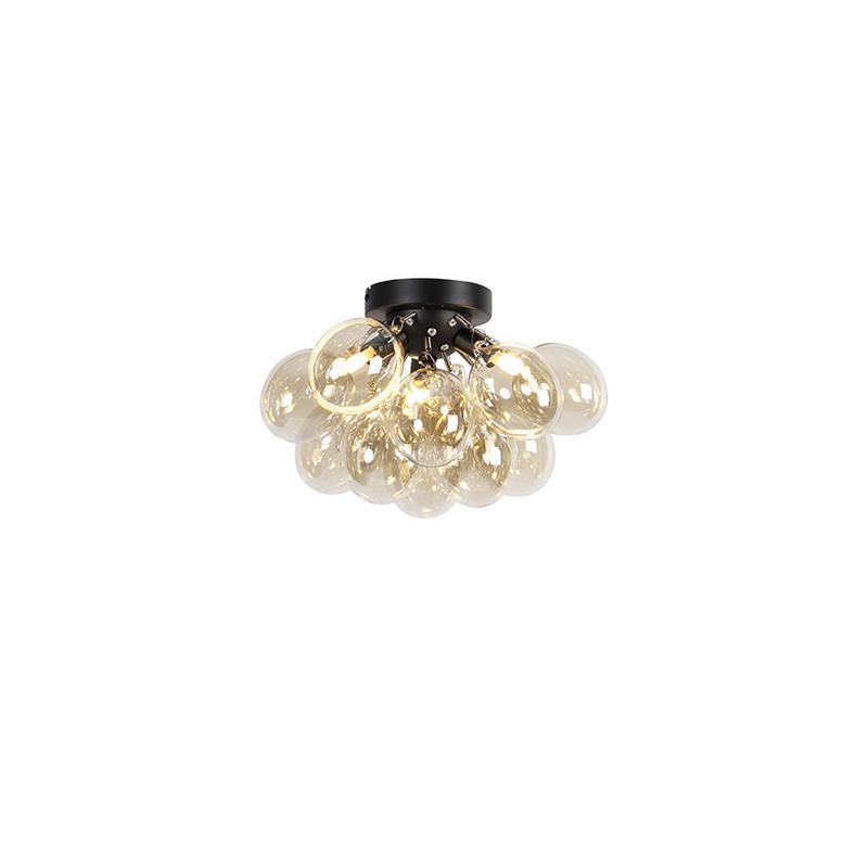 Design plafondlamp zwart met amber glas 3-lichts - Uvas
