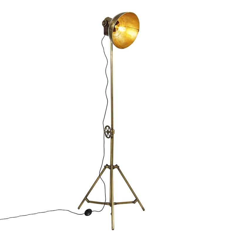 Industriele vloerlamp tripod brons - Mangoes