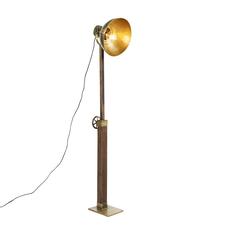 Industriële vloerlamp brons met hout - Mangoes