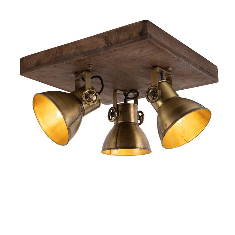 Plafondlamp brons met hout 3-lichts - Mangoes