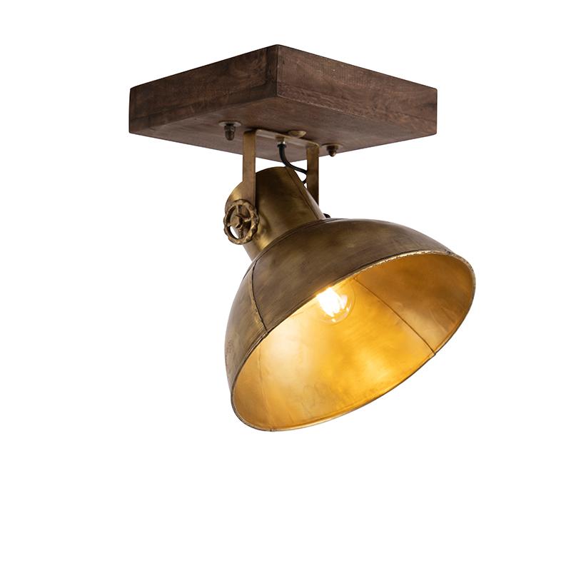 Industriële plafondspot brons met hout 30 cm - Mangoes