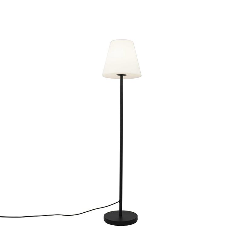 Buiten vloerlamp zwart met witte kap 35 cm IP65 - Virginia