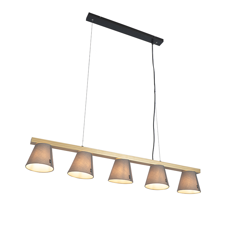 Landelijke hanglamp hout met grijs 5-lichts - Cupy