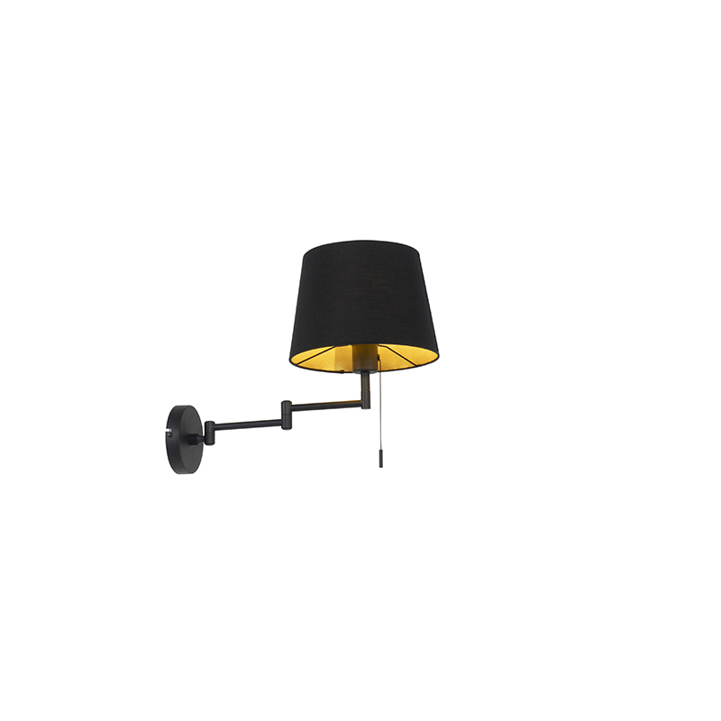 Wandlamp zwart met zwarte kap en verstelbare arm - Ladas