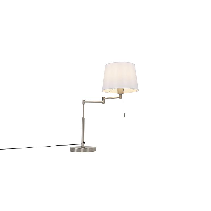 Tafellamp staal met witte kap en verstelbare arm - Ladas