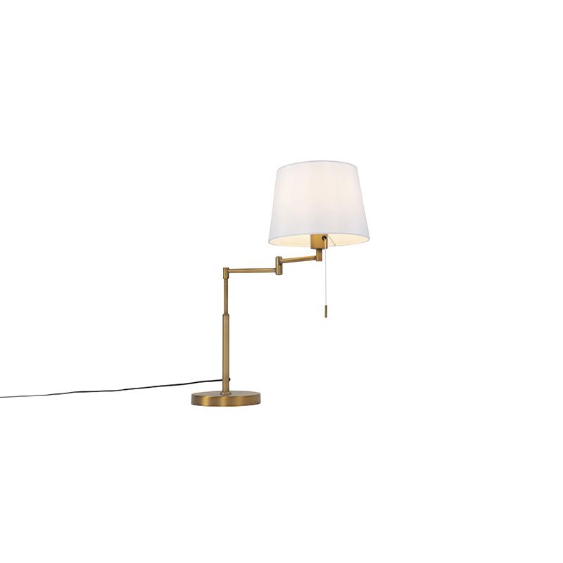 Lampa stołowa brąz z białym kloszem i regulowanym ramieniem - Ladas
