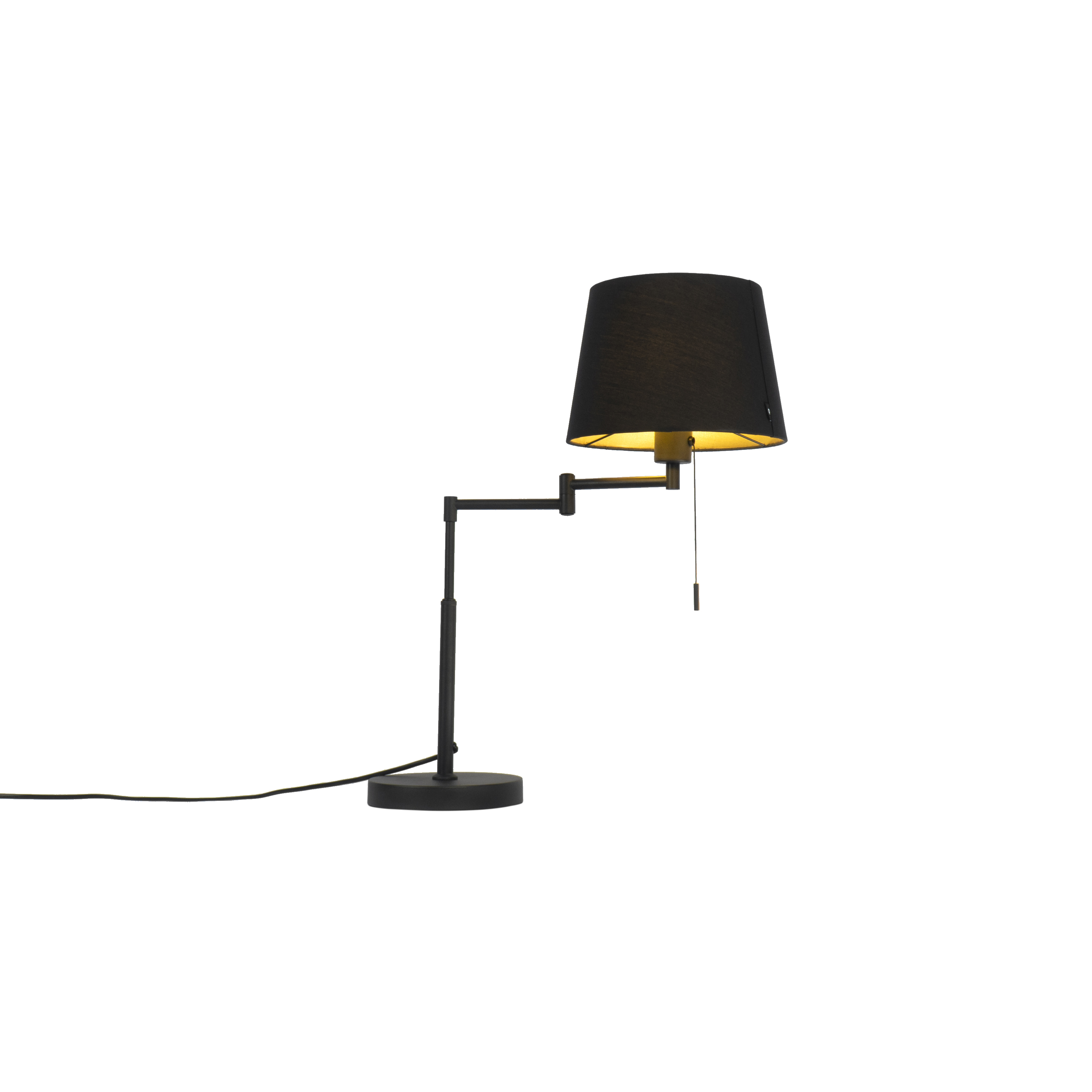 Tafellamp zwart met zwarte kap en verstelbare arm - Ladas