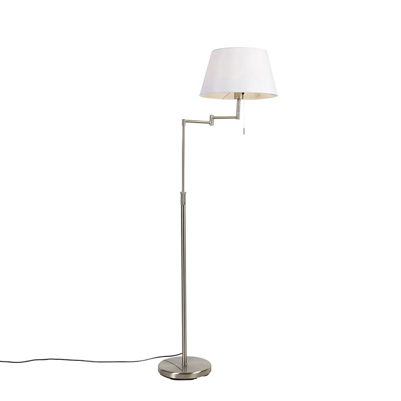 Stalowa lampa podłogowa z białym kloszem i regulowanym ramieniem - Ladas