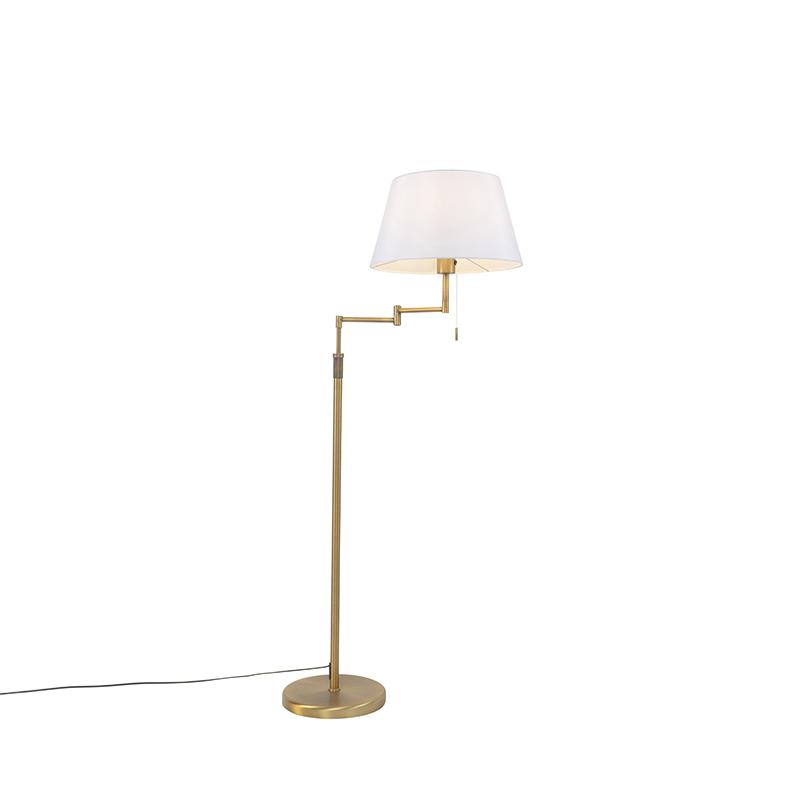 Lampa podłogowa brąz z białym kloszem i regulowanym ramieniem - Ladas