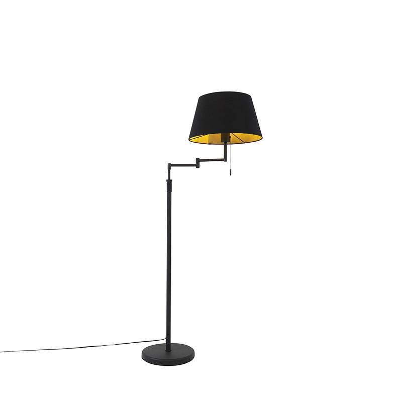 Lampa podłogowa czarna z czarnym kloszem i regulowanym ramieniem - Ladas