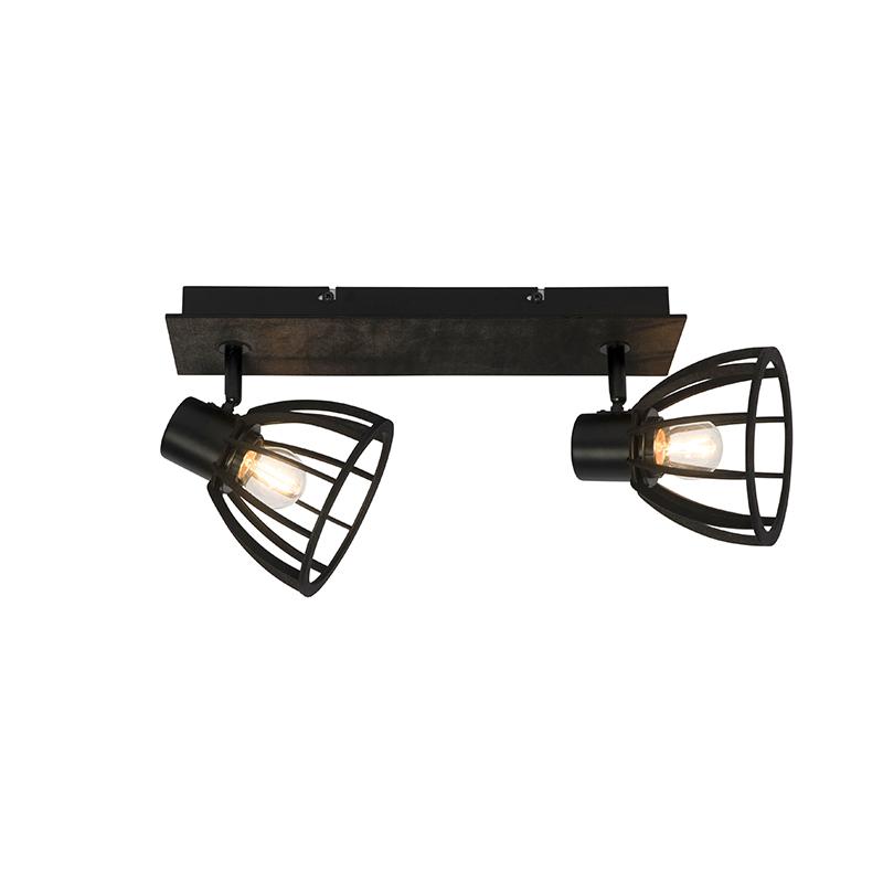 Przemysłowa lampa sufitowa 2-punktowa czarna - Fotu