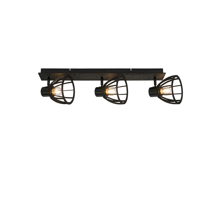 Przemysłowa lampa sufitowa czarna 3-punktowa - Fotu