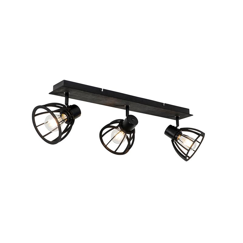 Industriële plafondlamp zwart 3-lichts - Fotu