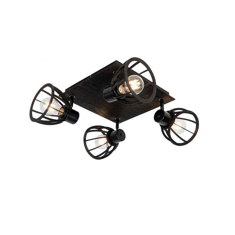 Industriële plafondlamp zwart 4-lichts - Fotu