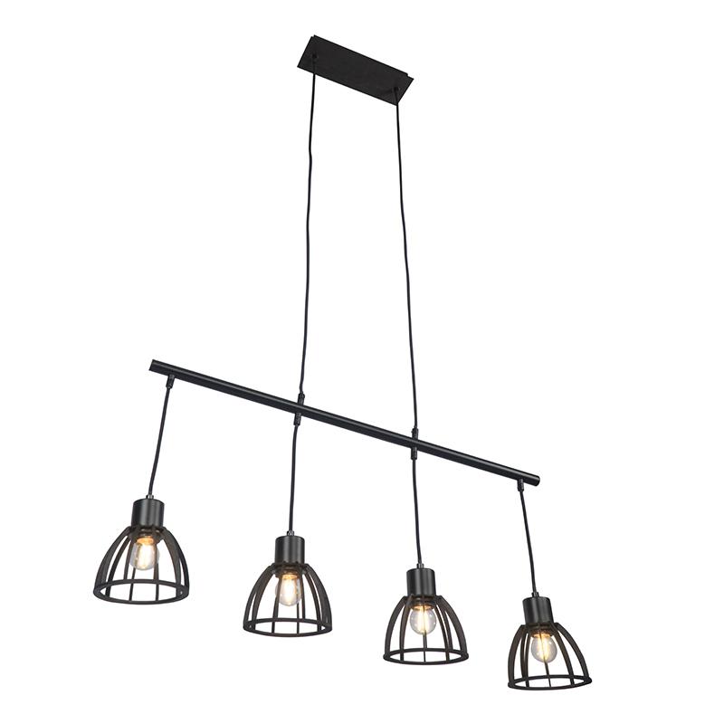 Przemysłowa lampa wisząca czarna 4-punktowa - Fotu