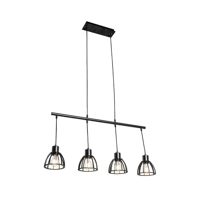 Industriële hanglamp zwart 4-lichts - Fotu