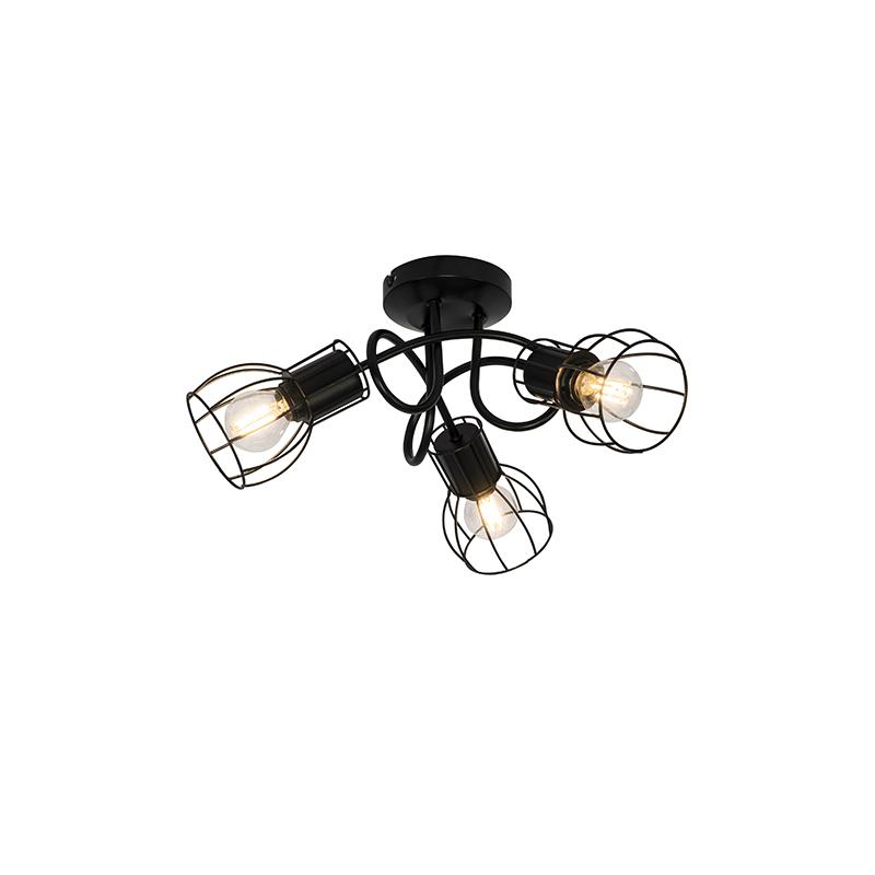 Moderne plafondlamp zwart 40 cm rond 3-lichts - Botu