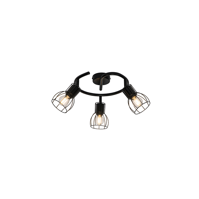 Nowoczesna lampa sufitowa okrągła czarna 50 cm 3-punktowa - Botu