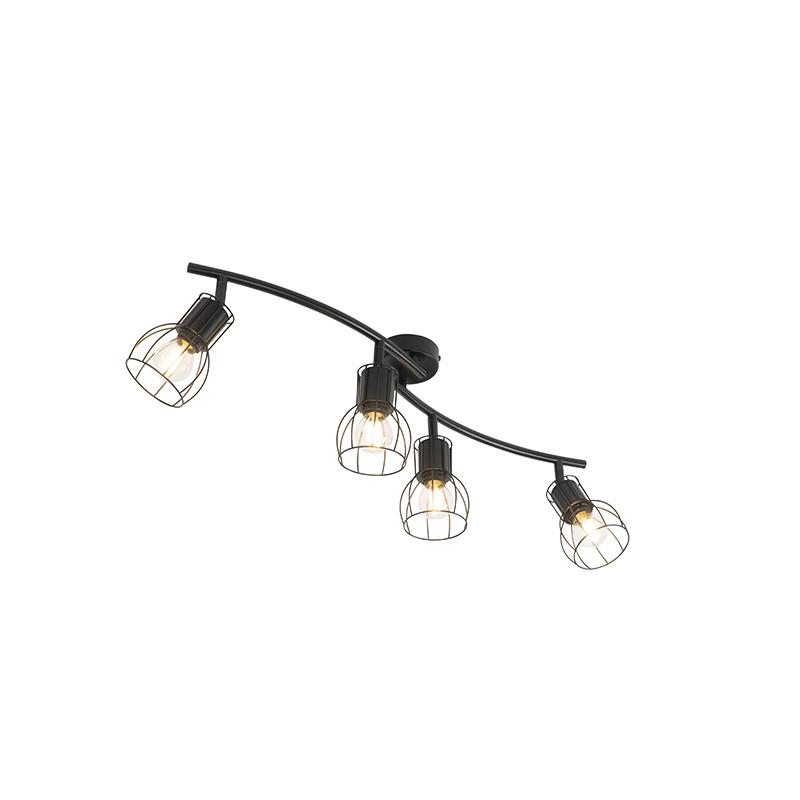 Moderne plafondlamp zwart 86 cm 4-lichts - Botu