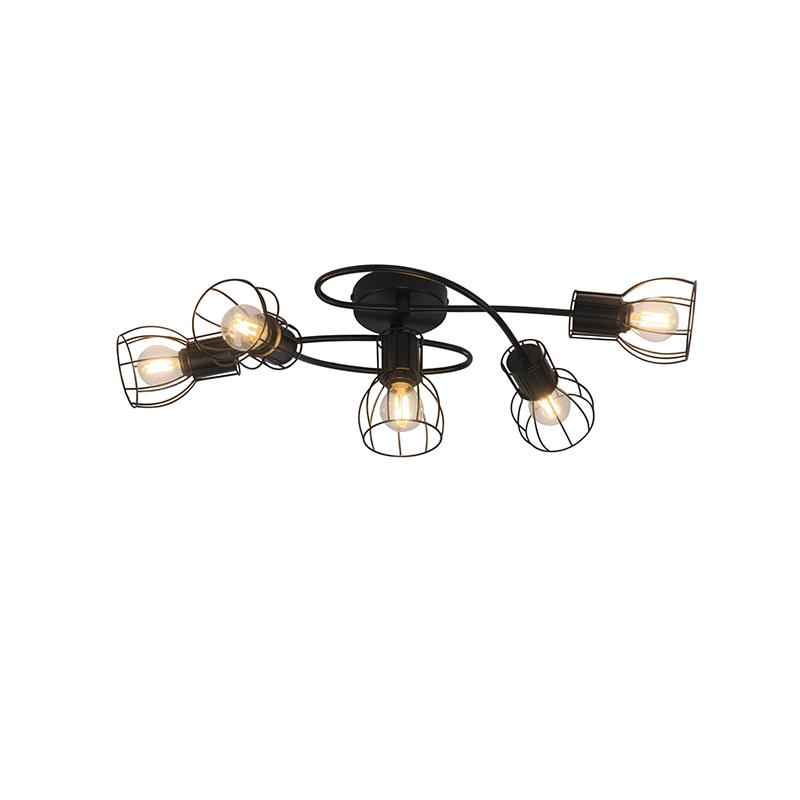 Nowoczesna lampa sufitowa czarna 59 cm 5-punktowa - Botu