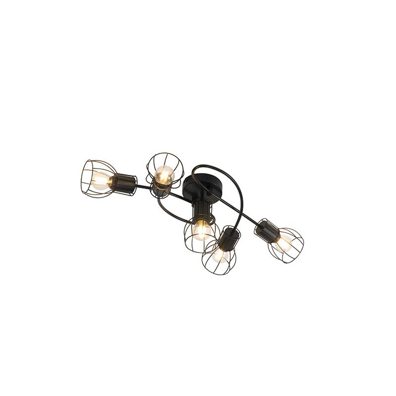 Moderne plafondlamp zwart 59 cm 5-lichts - Botu