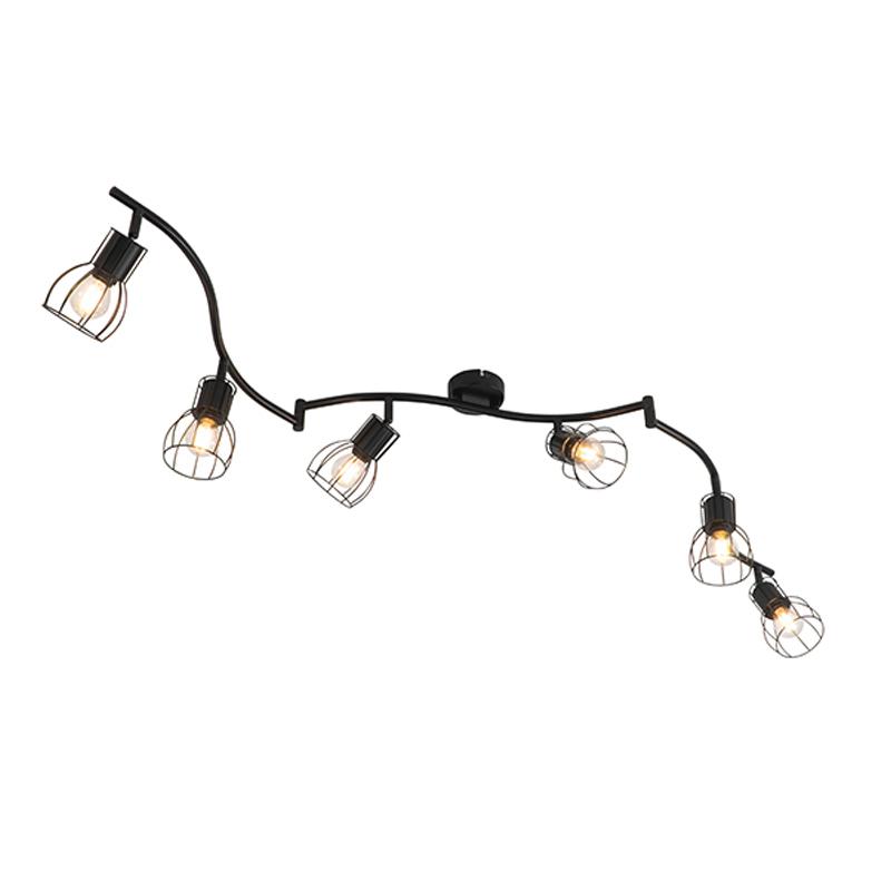 Moderne plafondlamp zwart 162 cm 6-lichts - Botu