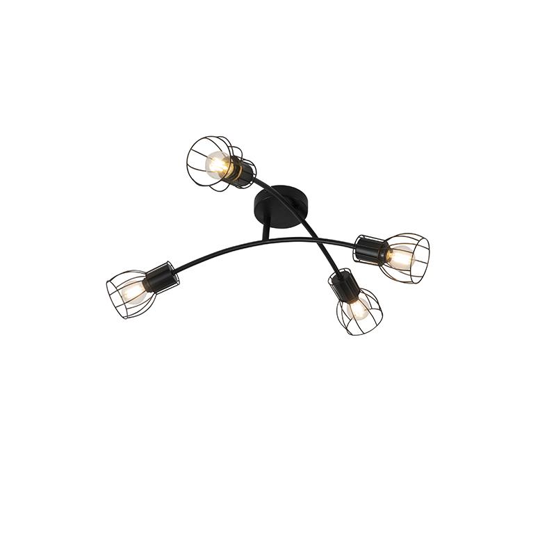 Moderne plafondlamp zwart 60 cm 4-lichts verstelbaar - Botu
