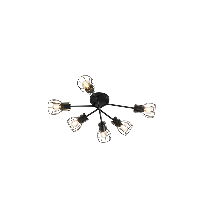 Moderne plafondlamp zwart 65 cm 6-lichts - Botu