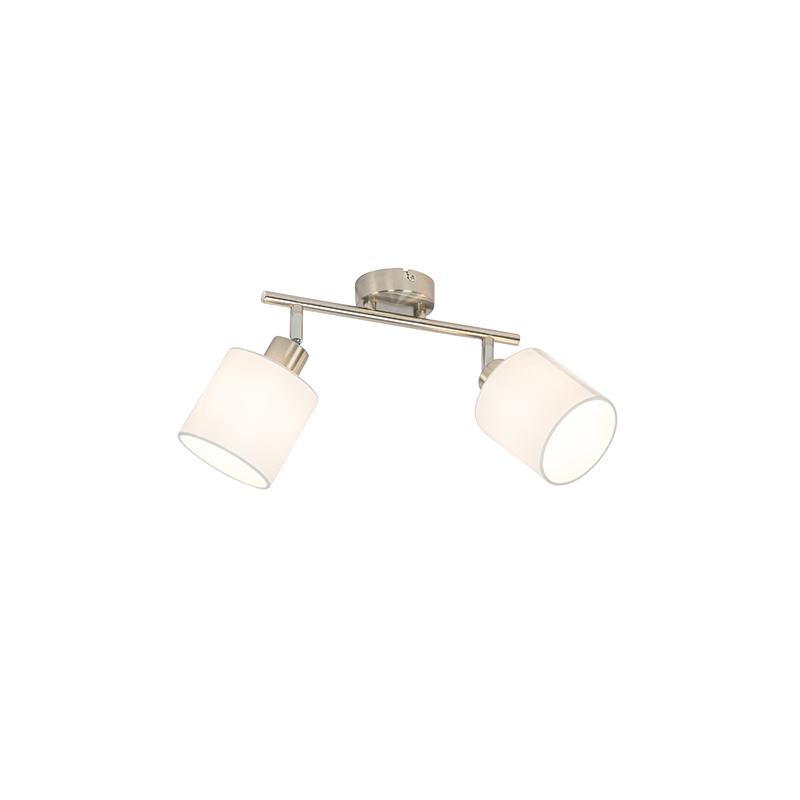 Reflektor sufitowy stalowy z białym kloszem 2 światła regulowane - Hetta
