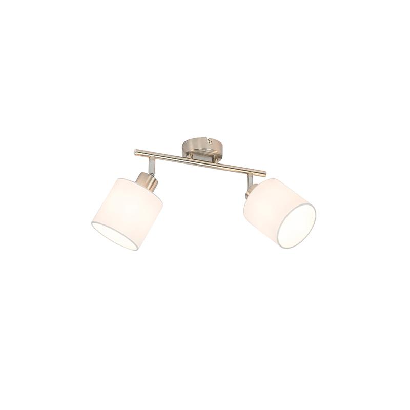 Plafondspot staal met witte kap 2-lichts verstelbaar - Hetta
