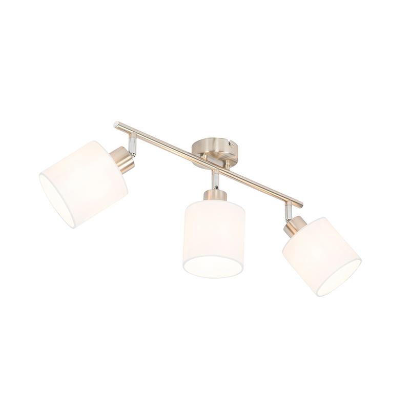 Plafondspot staal met witte kap 3-lichts verstelbaar - Hetta