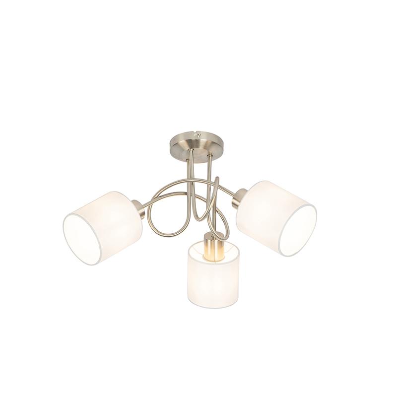 Reflektor sufitowy stalowy z białym kloszem 3-punktowy - Hetta