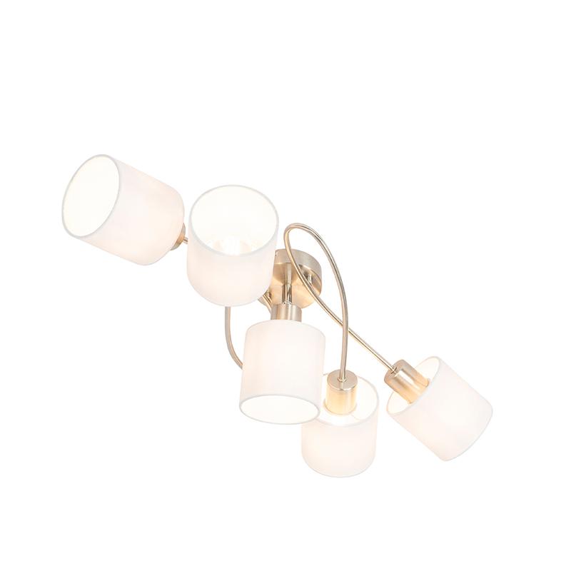 Moderne plafondlamp staal met witte kappen 5-lichts - Hetta