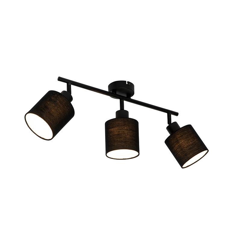 Moderne plafondlamp zwart 3-lichts - Hetta