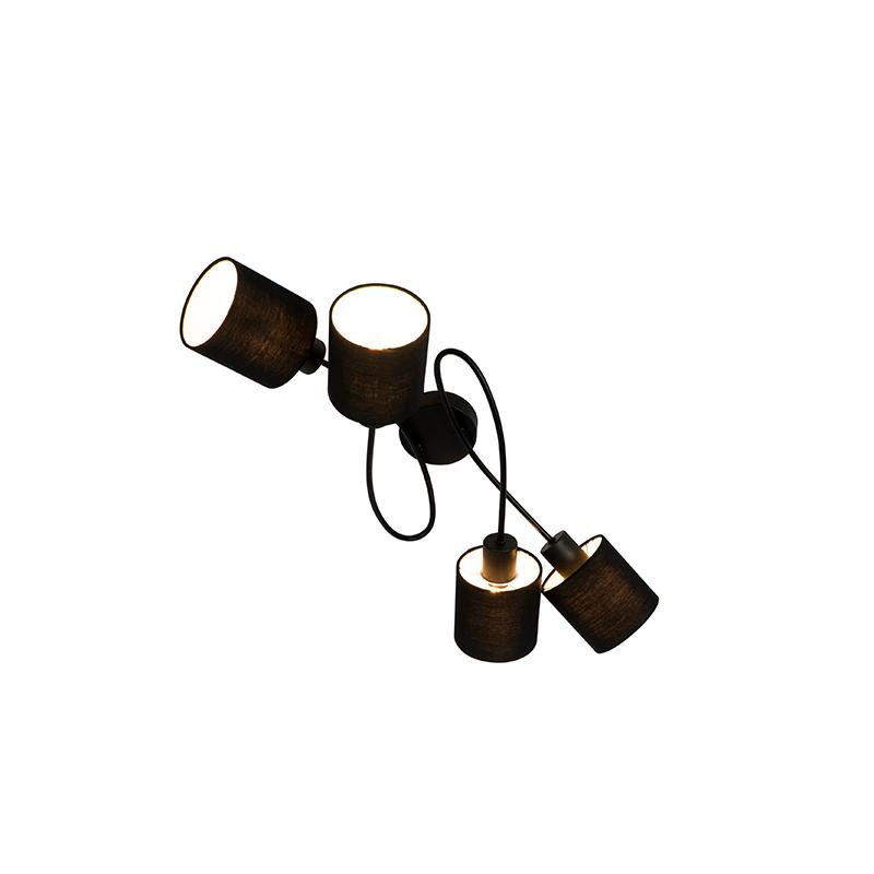 Moderne plafondlamp zwart 60,5 cm 4-lichts verstelbaar - Hetta