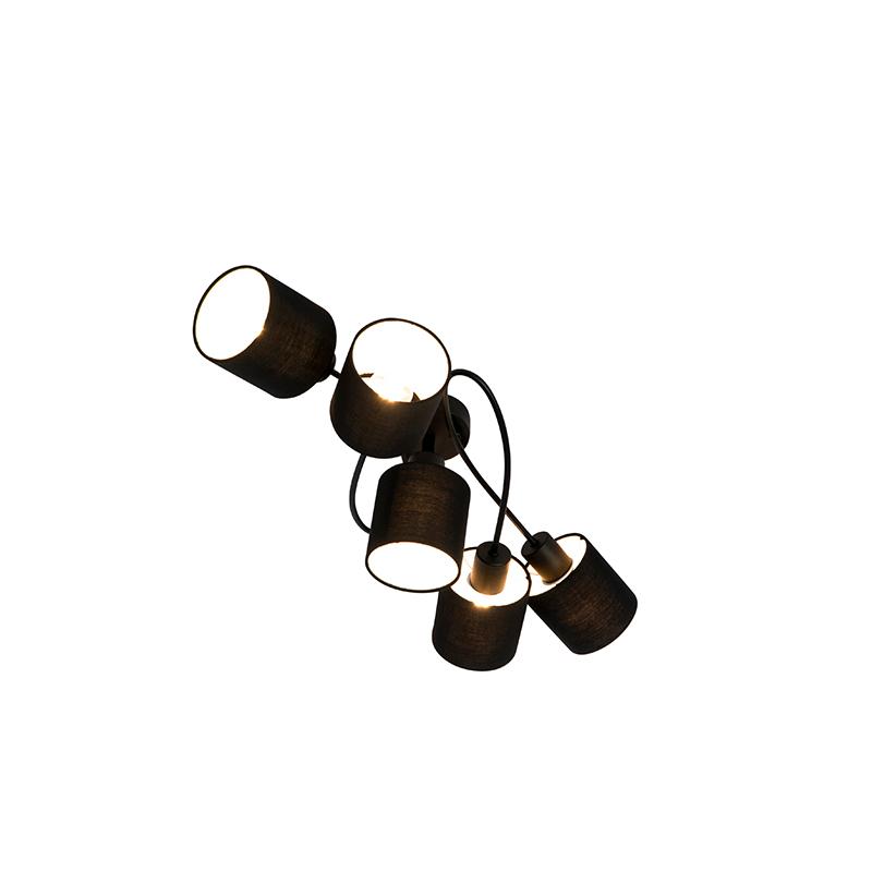 Moderne plafondlamp zwart 5-lichts - Hetta