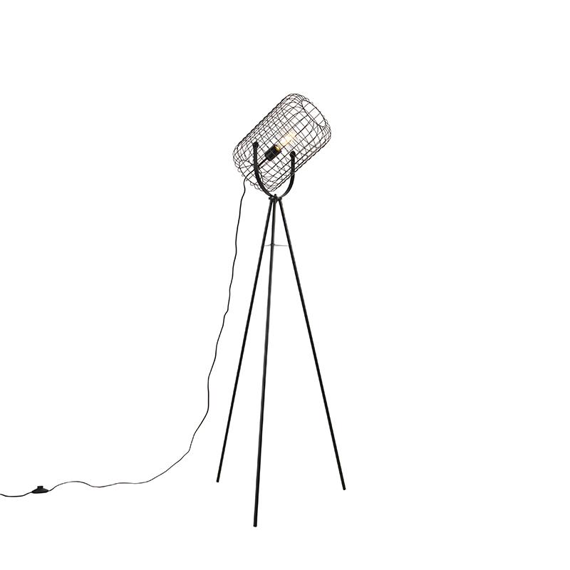 Industrialna lampa stojąca ze statywem stalowym czarnym - Bliss Vefa
