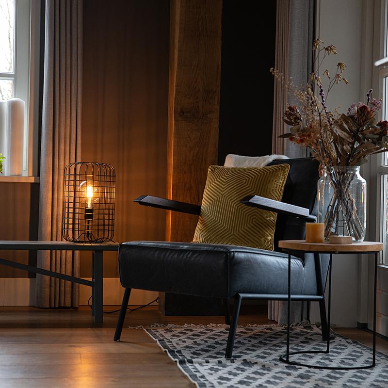 Industriële tafellamp zwart 40 cm - Bliss Vefa
