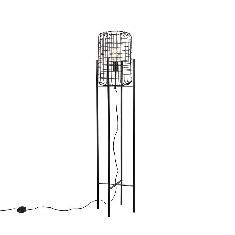 Przemysłowa lampa podłogowa czarna - Bliss Vefa