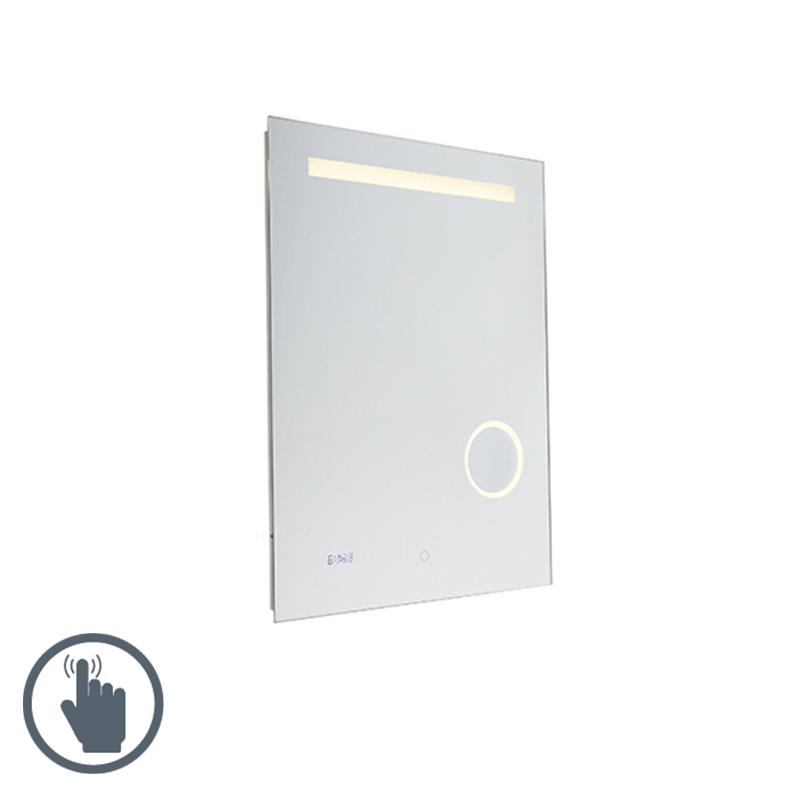 Moderne badkamerspiegel 60x80 cm incl. LED IP44 met touch dimmer en klok - Miral