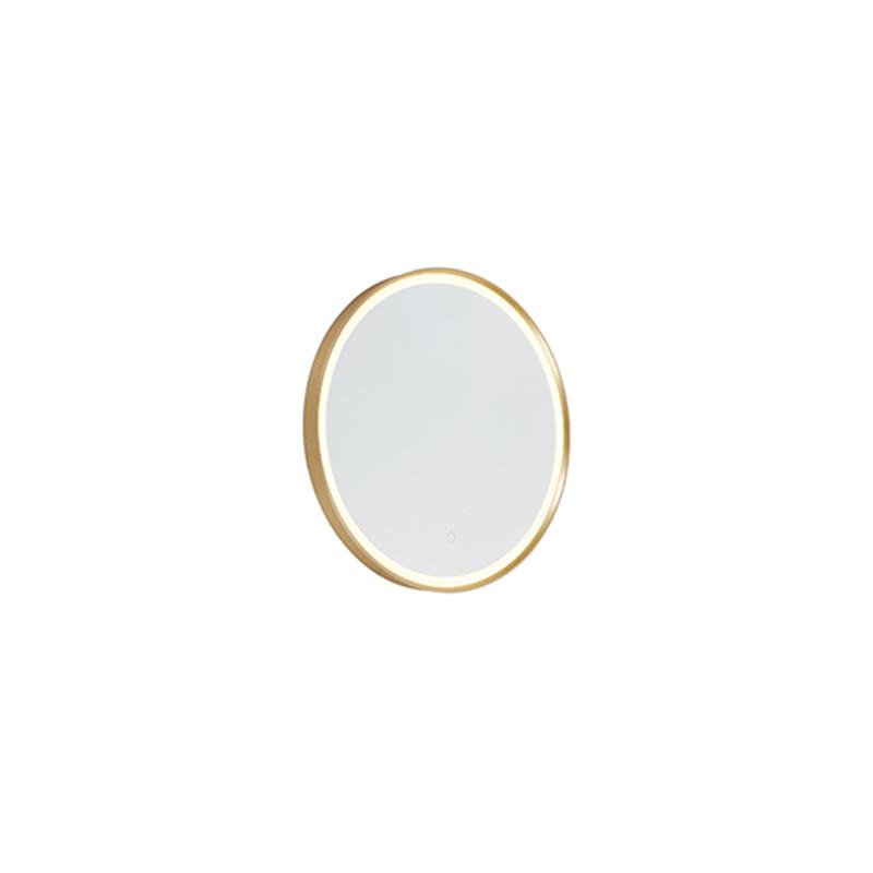 Ronde badkamerspiegel goud 50 cm incl. LED met touchdimmer - Miral