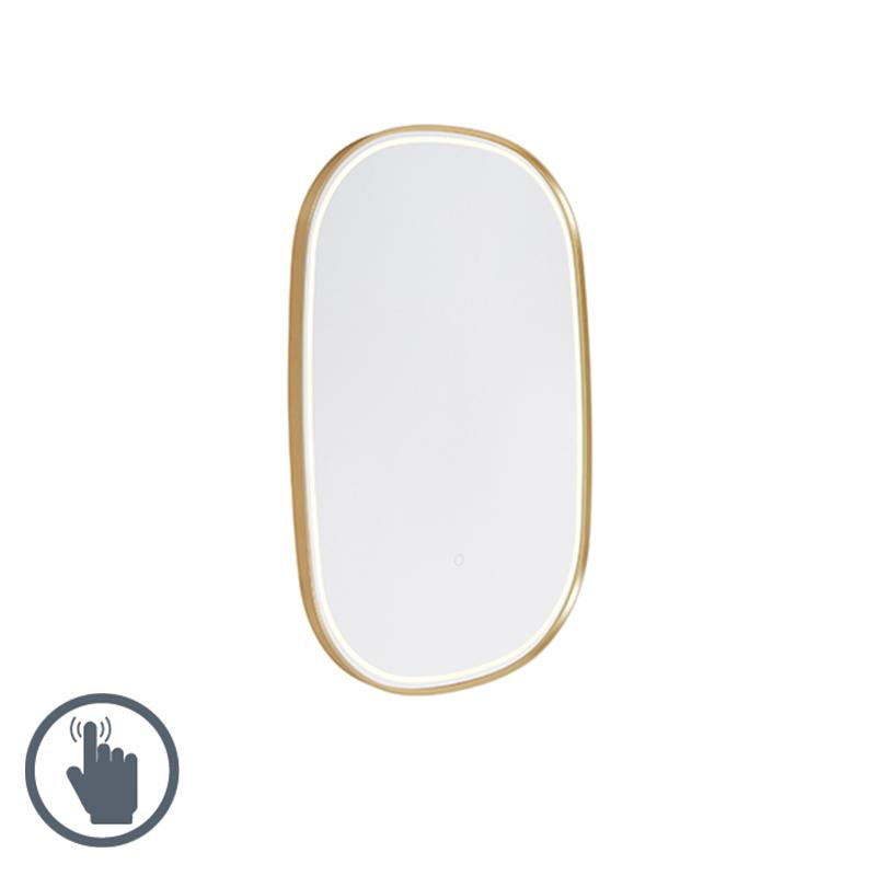 Owalne lustro łazienkowe w kolorze złotym z LED ze ściemniaczem dotykowym - Miral