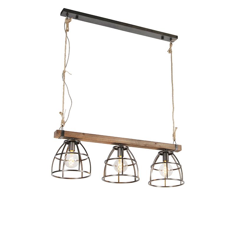 Industrialna lampa wisząca czarna drewno 3-źródła światła - Arthur