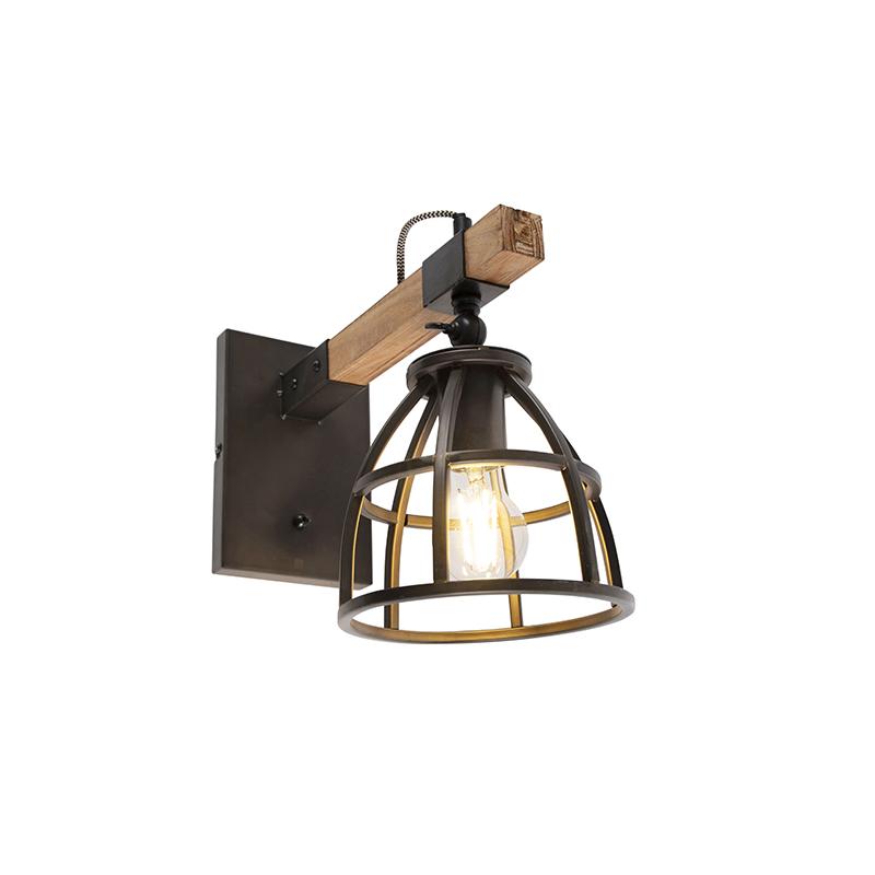 Industri�le wandlamp zwart met hout verstelbaar - Arthur