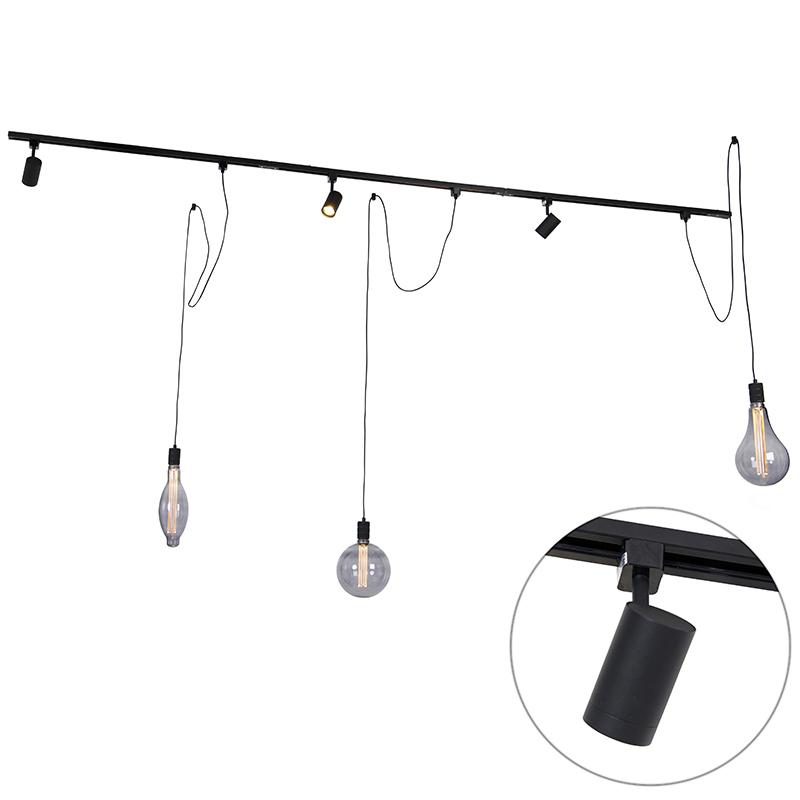 Railsysteem met 3 spots en hanglamp 1-fase zwart - Cavalux Jeana