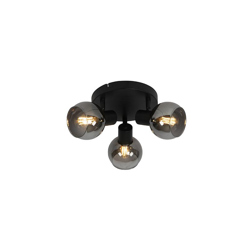 Art Deco plafondlamp zwart 3-lichts met smoke glass - Vidro