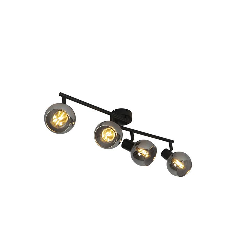 Art Deco plafondlamp zwart 4-lichts met smoke glass - Vidro
