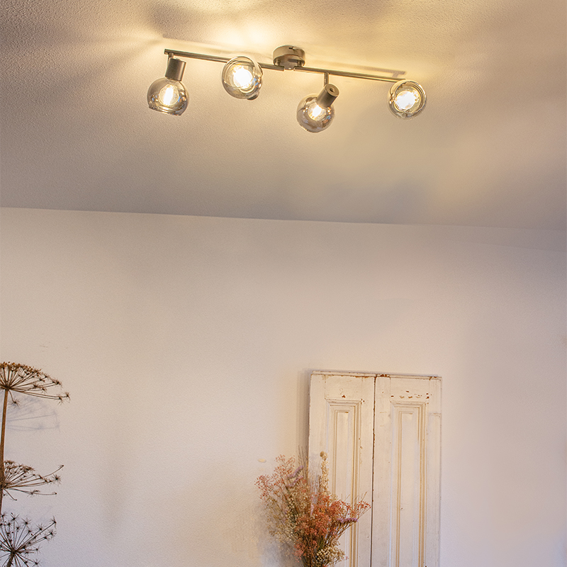 Art Deco plafondlamp zwart met smoke glas 4-lichts - Vidro